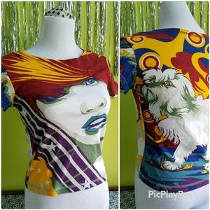 Vintage 90s Graphic T-Shirt Lady and Dog Design